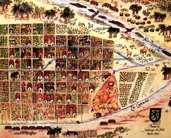 Ancienne carte de Santiago - Museo Historico Nacional