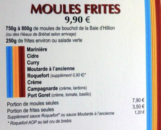 Moules Frites au Crapaud Rouge - la carte